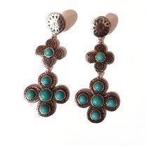 Boucles d'oreilles turquoise fleurs de Shabada