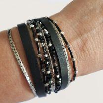 Bracelet cuir noir Sev Sevad